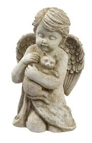 cat garden statue grasslands road cherub with cat 7 inch gift boxed