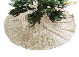 Christmas Tree Skirt 36Inch Light Gold Sequin Sparkle Champagne Xmas Ornament Sequence