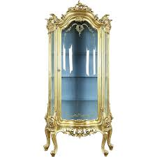 Curved Glass Curio Cabinet by Gold Leaf Baroque Curved Glass Vintage Curio China Display Cabinet