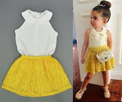 2016 Baby Girl Clothes Sets Children Summer Fashion Style Chiffon Tops Yellow Lace Skirts Outfit For Girls Kids Clothing 2pcs Set Online With