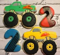 100 Monster Truck Cookies Truck 2nd Birthday Cookies Melissas Cookie Company