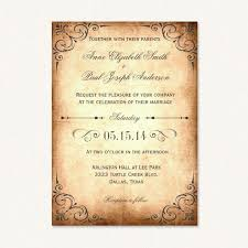Vintage Rustic Wedding Invitations With Decorative Corners And Paper Background Texture