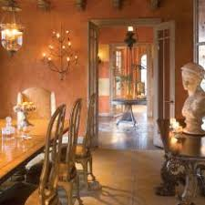 Mediterranean Style Dining Room With Faux Paint