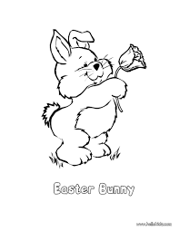 Rabbit And Spring Flower Coloring Page