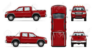 100 All Wheel Drive Trucks Red Pickup Truck Vector Illustration Four Car Isolated