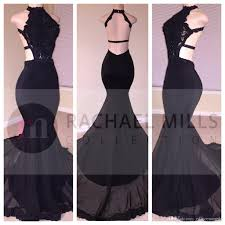 black lace sequins long prom dresses 2018 mermaid halter