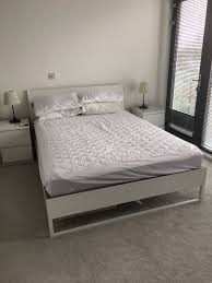 king size bed ikea trysil white frame including slats and