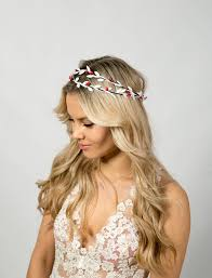 Leaf Flower Crown Headband Double Wedding Rustic Bridal Floral Bohemian