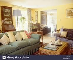 pastelle gelbe kissen auf blasse grüne sofa in gelb land