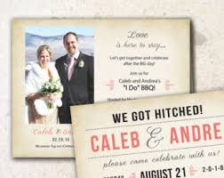 Wedding Reception We Got Hitched Elopement Vow Renewal Invites Invitations Magnets Post Cards Rustic Country Beach