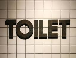 Download Toilet Word Made From Rustic Metal In Vintage Design Style Placed Like 3D On White
