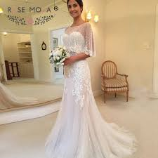 Removable Thin Straps Lace Sheath Wedding Dress With Cape Ivory