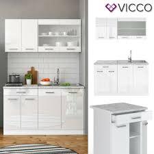 vicco r line 140cm einbau küchenzeile hochglanz weiß