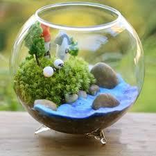vase en verre fleur plantes trépied soutien poissons réservoir