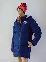 Reebok Winter Jacket Hooded Navy Blue Puffer Parka Coat Outerwear Sky Women Sz S