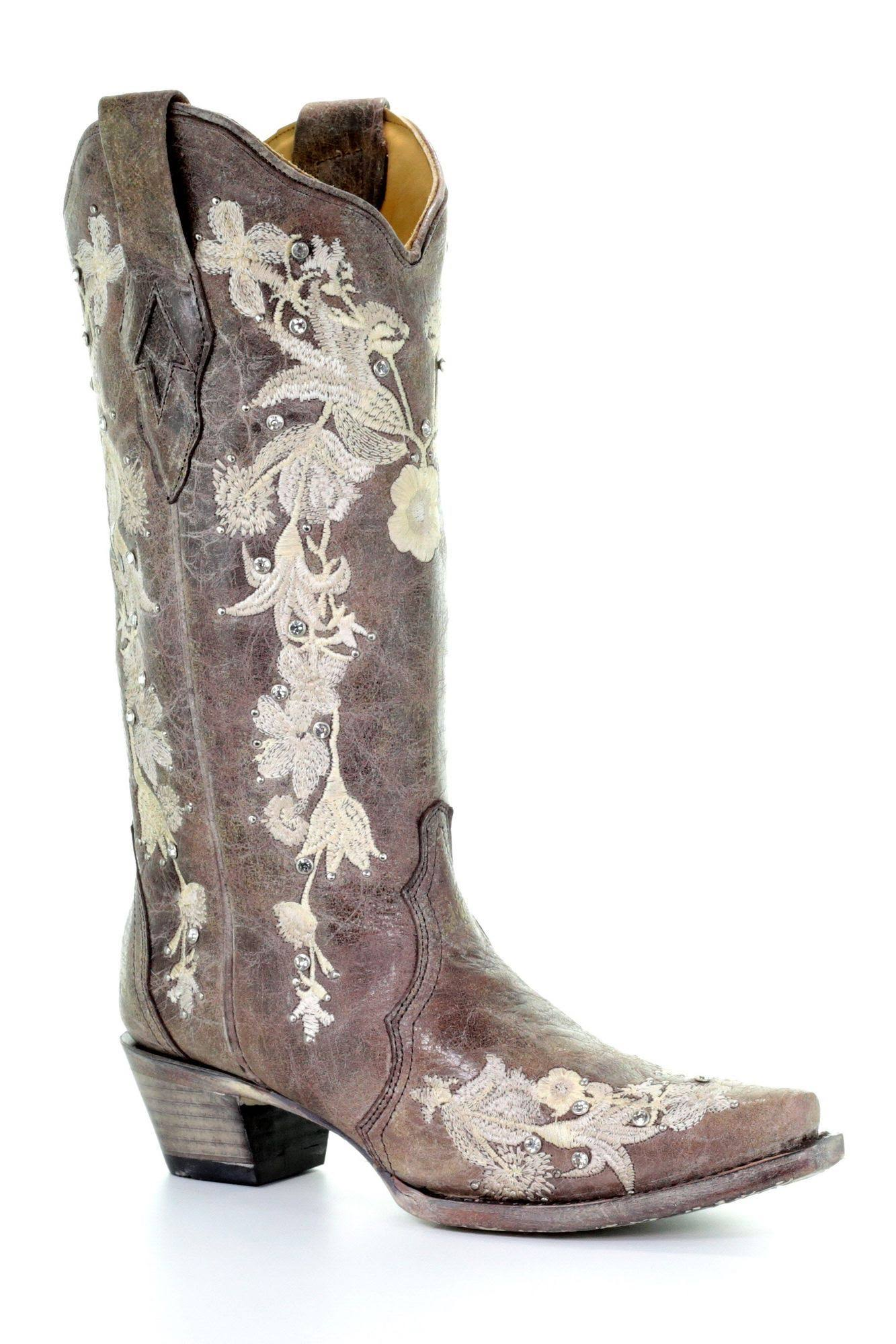 Corral Women's Flower Embroidery Western Boots - Snip Toe - Coffee / 10 W