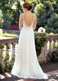 Open Back Illusion A Line Rustic Lace Chiffon Wedding Dress