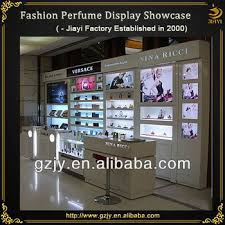 glass perfume display cabinet with led light and perfume display