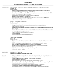 Download Activities Assistant Resume Sample As Image File