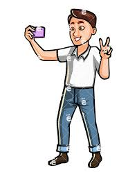 Man Taking Selfie With A Mobile Phone Vector Cartoon Character