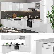 vicco küchenzeile r line eckküche winkel küche einbauküche weiss hochglanz