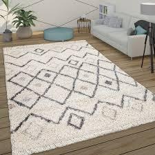 hochflor teppich shaggy langflor wohnzimmer skandi rauten muster modern beige