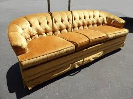 vintage mid century modern gold tufted velvet sofa couch hollywood