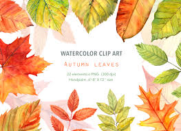 Watercolor ClipArt Autumn leaves Red Green Yellow Hand painted Instant Download Fall leaf clipart Digital graphic Leaf image