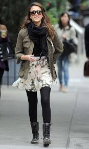 Jessica Alba Printed Skirt Army Jacket Combat Boots Dr Martens Scarf Black Tights Via Lookcouk