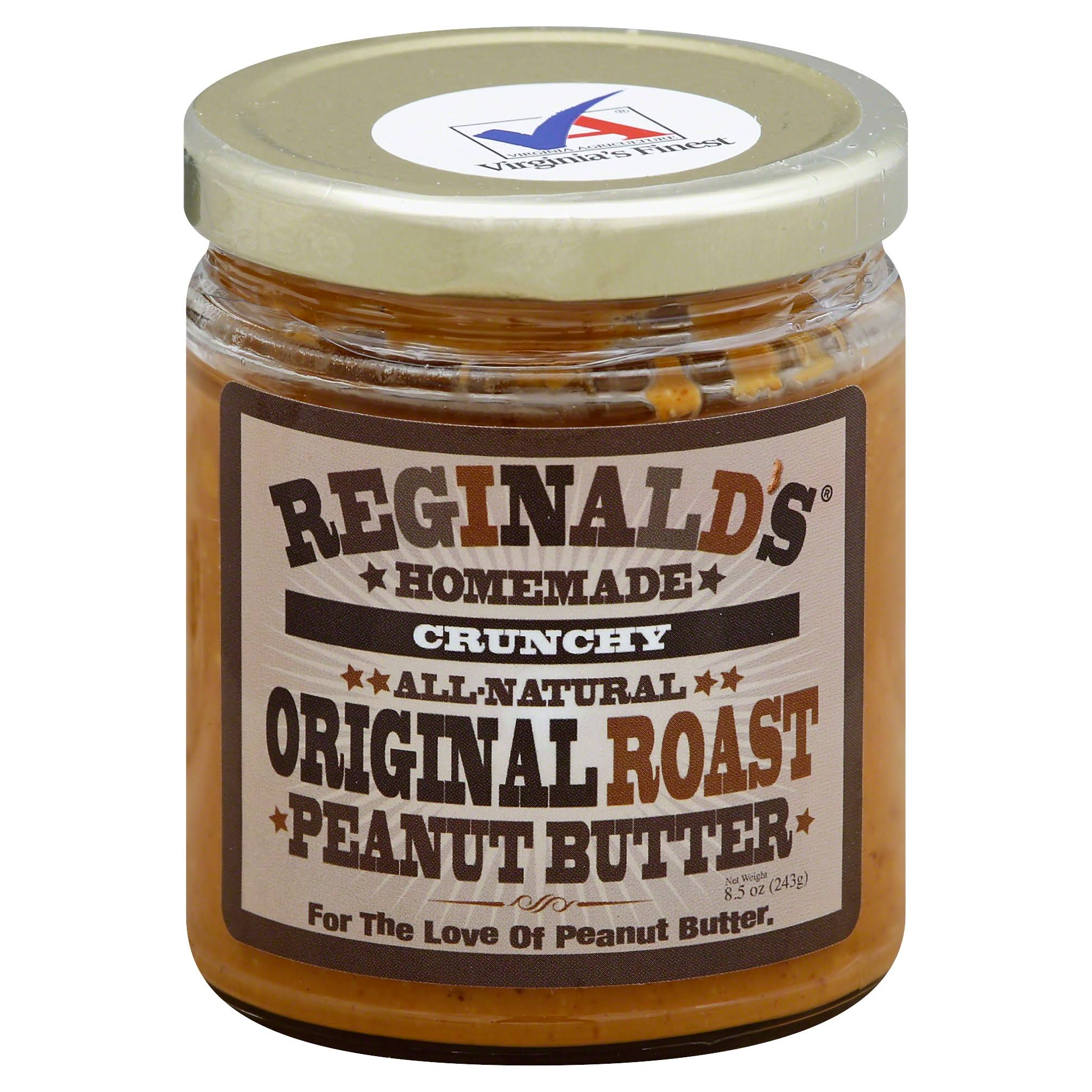 Reginalds Homemade Peanut Butter, Crunchy, Original Roast - 8.5 oz