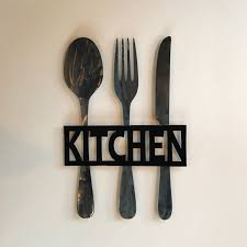 Extremely Ideas Fork And Spoon Wall Decor With Kitchen Metal Sign Knife