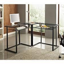 walker edison glass and metal c frame corner computer desk black