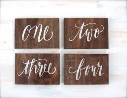 Rustic Calligraphy Wooden Table Numbers The Paper Walrus Rusticweddings Tablenumbers