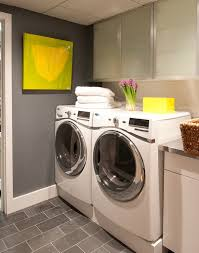 white laundry room with gray floor design ideas