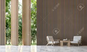 moderne wohnzimmer 3d rendering minimalistischen minimalistischen stil weiß marmor wand bedeckt mit holzwand es gibt große linien um die natur zu