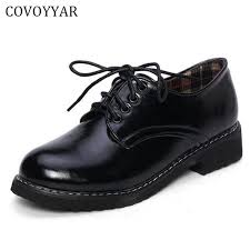 COVOYYAR 2018 Spring Fall Women Oxford Shoes Lace Up Solid Basic Dress Formal Lady Flats