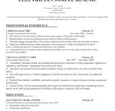 Example Of Electrician Resume Template Sample
