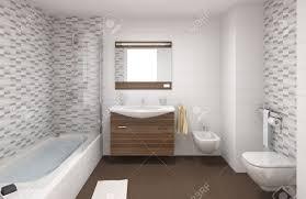 innen szene einem modernen badezimmer in weißen und braunen farben