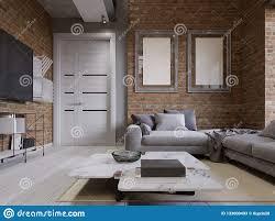 wohnzimmer mit ecksofa mit kissen und einem weißen