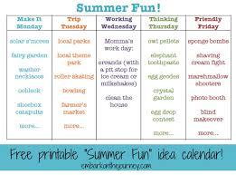 Printable Summer Fun Idea Calendar