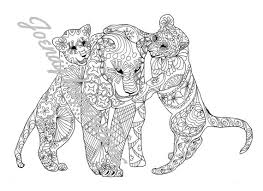 Adult Coloring Book Printable Pages For Adults Instant Download Amazing Animals 3 Page 1