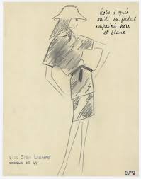 Original Sketch Of An Afternoon Dress Spring Summer 1962 Haute Couture Collection C Musee Yves Saint Laurent Paris