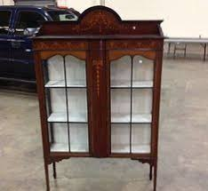 vintage english oak petite curio china display cabinet spade legs