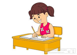 Student Writing At Desk Clipart
