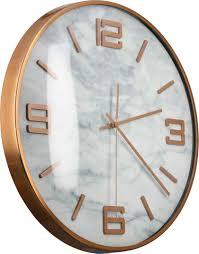 gilde wanduhr marble rund ø 40 cm aus metall ziffernblatt in marmoroptik wohnzimmer