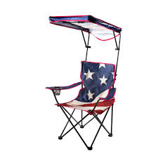 Quik Shade US Flag Folding Camp Chair With Adjustable Sun Shade