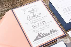 Mountain Wedding Invitation For Ski Lodge Weddings Salt Lake City Navy And Coral