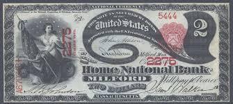 Dollar Bill Home National Bank of Milford Massachusetts Charter