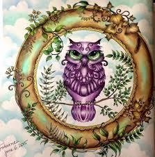Owl Enchanted Forest Coruja Floresta Encantada Johanna Basford Coloring BookEnchanted