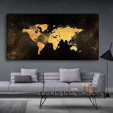 abstrakte schwarz gold welt karte leinwand malerei